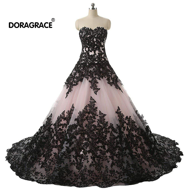 Doragrace Glamorous A Line Applique Lace Evening Gowns Prom Dresses Plus Size