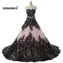 Doragrace Glamorous A Line Applique Lace Evening Gowns Prom Dresses Plus Size