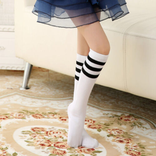 Baby Kids Girls Knee High Socks Winter Warm Breathable Striped Tube Long Socks
