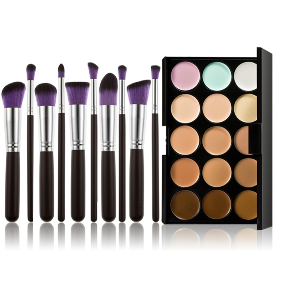 15 Colors Pro Contour Face Cream Waterproof Makeup Concealer Cosmetic Palette  Cover Pores Dark Circles with 10pcs Brushes Tool professional concealer palette 15 color facial face cream care camouflage makeup base palettes cosmetic rlbt
