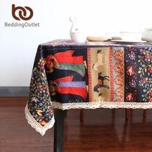 Beddingoutlet mantel étnico algodón de lino cubierta de tabla paño de tabla rectangular multi funcional para el aire libre y el hogar