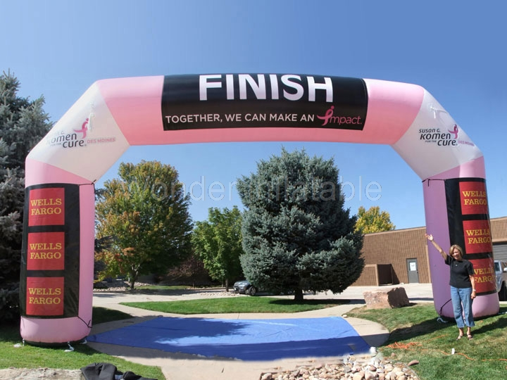 Free blower large outdoor women run race inflatable finish line arch with branded name for promotional