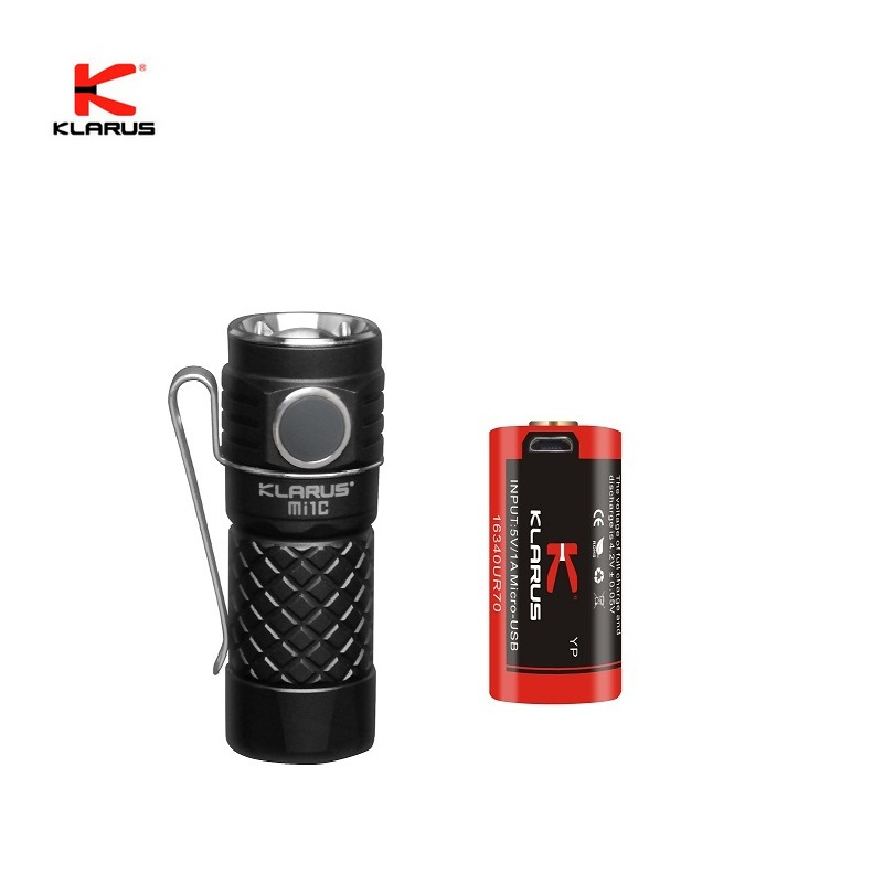 Original Mini KLARUS Mi1C CREE XP-L HI V3 LED Flashlight 600 lumens EDC Flashlight with Micro-USB 16340 Li-ion Battery klarus mi7 ipx8 mini led flashlight torch power by aa or 14500 battery cree xp l hi v3 lamp 700 lumens lantern smart indicator