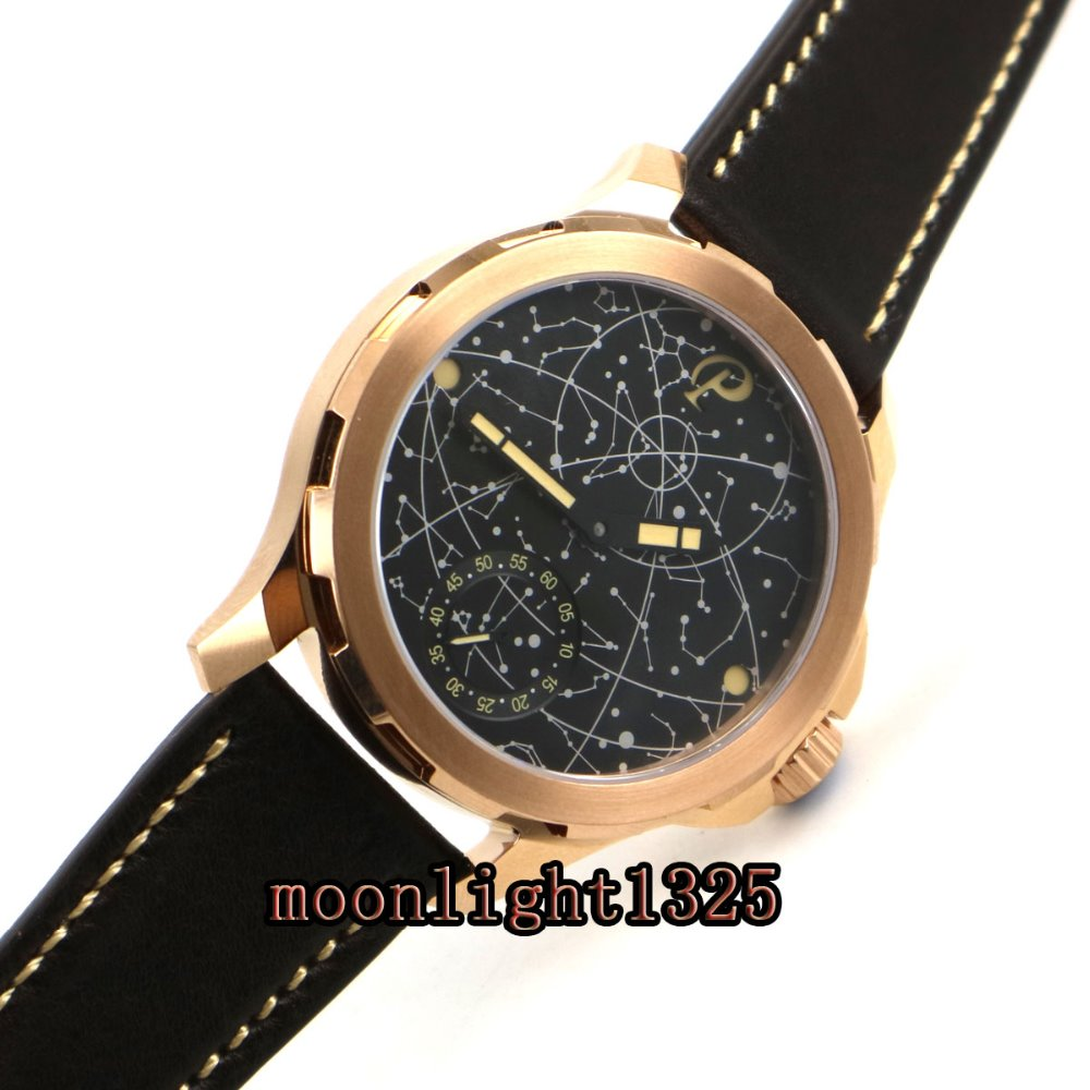 2017 new 44mm mens parnis constellation rose golden plated Case Leather Sapphire glass Luminous 6498 hand Winding uhr Watch nahemah nahemah a new constellation