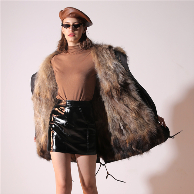 2019 Real Fur Coat Winter Jacket Women Long Parka Waterproof Big Natural Raccoon Fur Collar Hood Thick Warm Real Fox Fur Liner 6
