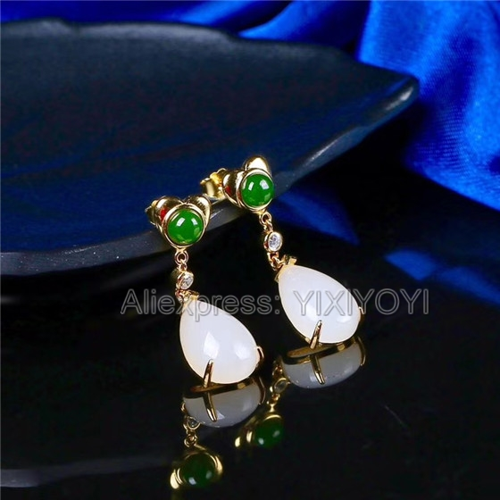 925 Sterling Silver Green White HeTian Jade Beads Inlay Water Dropping Dangle Lucky Ear Earrings Girl's Charm Gift Jewelry 925 silver natural white white hetian jade beads inlay flower dangle lucky pendant necklace ring elegant woman s jewelry set