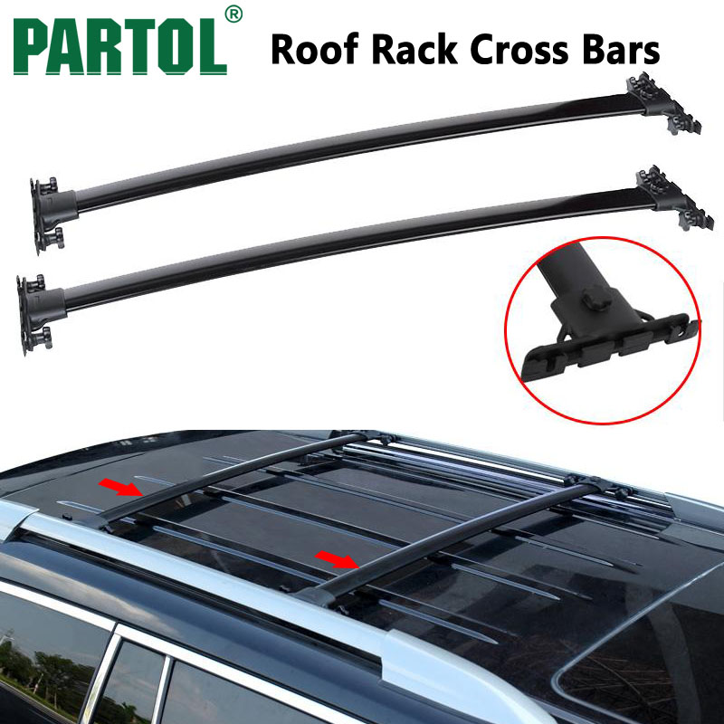 Partol Black Roof Top Cross Bars Crossbars Rail Rack Carrier 150LBS Aircraft Aluminum  For TOYOTA HIGHLANDER 2008-2013 partol car roof top cross bars roof rack cross bars rail carrier 150lbs aircraft aluminum for mazda cx 7 2007 2008 2009 2010 12