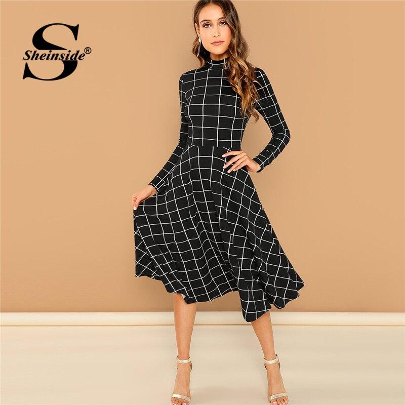 Sheinside Office Ladies High Neck Fit   Flare Black Dress Elegant Women Long  Sleeve Plaid Dresses 1ed5d9cf92