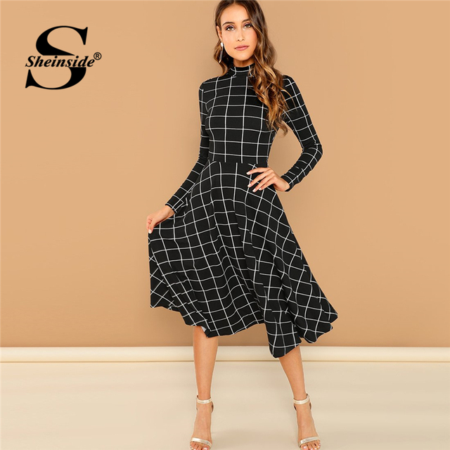 Sheinside Office Ladies High Neck Fit   Flare Black Dress Elegant Women  Long Sleeve Plaid Dresses 2018 Autumn A Line Midi Dress c528b88cbaa1