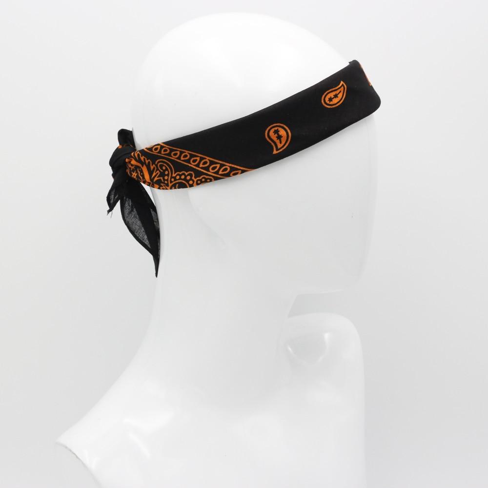 Black With Orange Paisley Cotton Bandanas Men Hiphop Headband Headscarf Women Neckerchief Headwear Handkerchief(China)