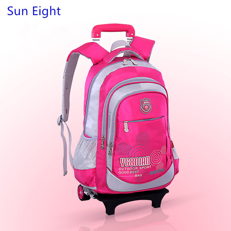 0e47524751a6 Sun Eight blue detachable trolley school bag kids backpack with wheels  schoolbag girls school bags for teenagers student boy bag-in School Bags  from Luggage ...