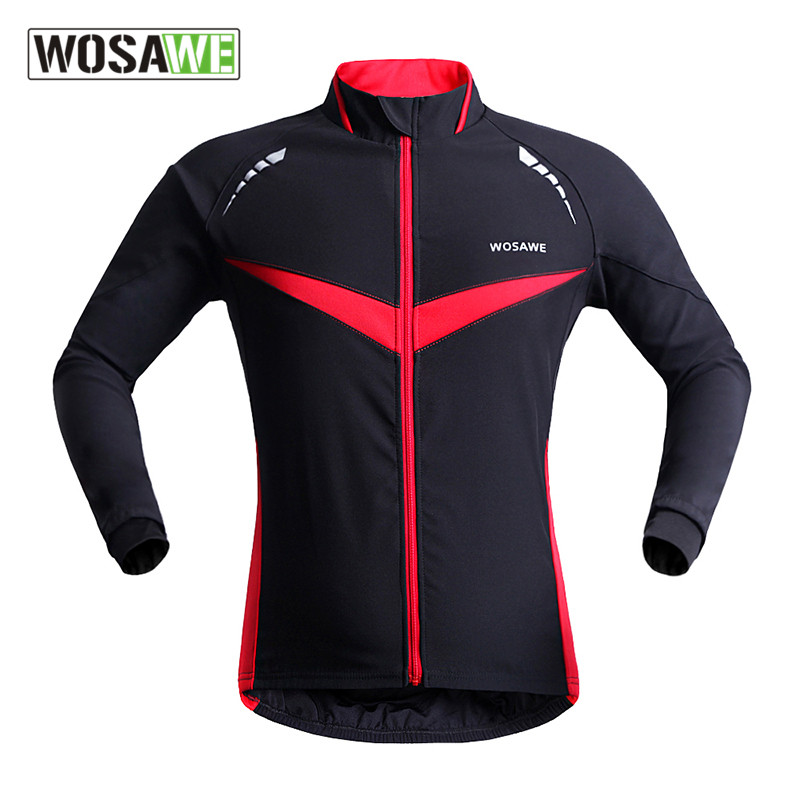 ФОТО Simple Classic Black and Red Winter and Spring Cycling Jackets Outdoor Sports Waterproof Breathable Reflective Thermal Jerseys