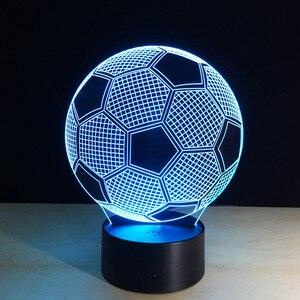 Image 3 - Oprawa oświetleniowa 3d piłka nożna LED lampka nocna pilot RGB 7 zmiana kolorów kryty lampka nocna lampa iluzoryczna