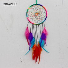 Handmade wall hanging decoration dream catcher with colorful feathers car gift room decor adesivos para parede dreamcatcher