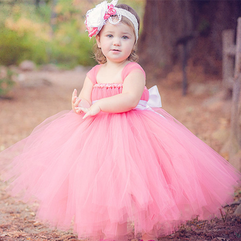 Children Girl Dress Pink Tutu Dress Tulle Flower Girl Dresses For Party Wedding Kid Birthday Pageant Ball Gown Princess Costume lilac tulle open back flower girl dresses with white lace and bow silver sequins kid tutu dress baby birthday party prom gown