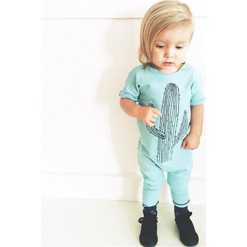 b1762372d7ae Baby Girl Jumpsuit Baby Boy Clothes Cactus Short Sleeve Summer Romper  Outfits