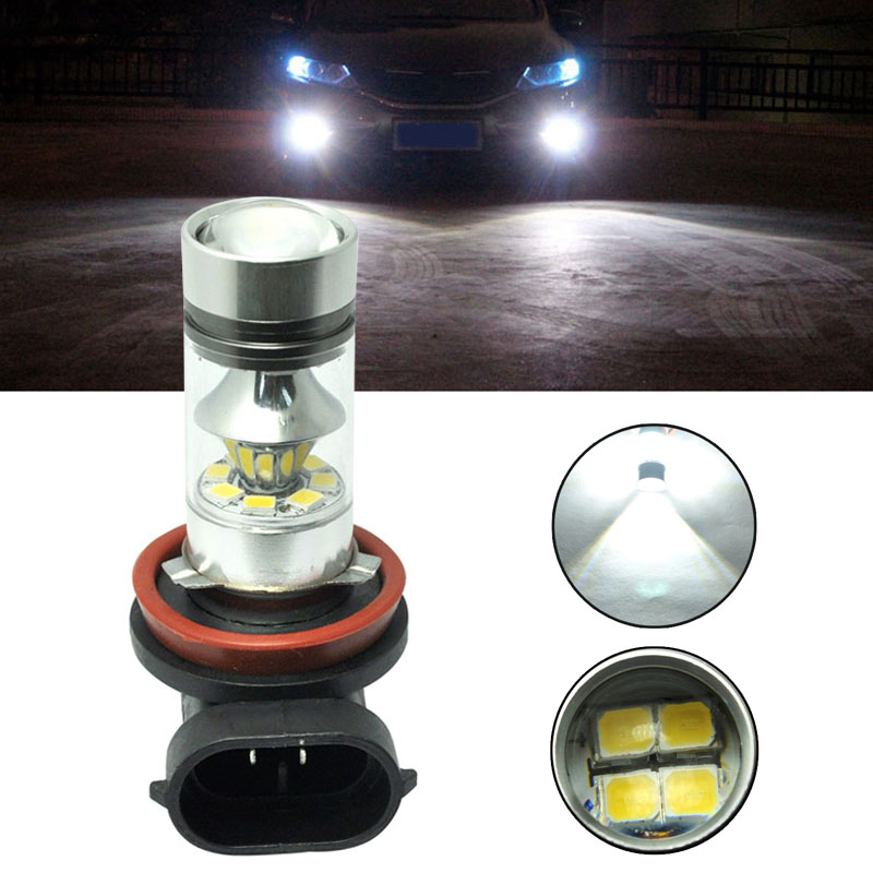 Car Light 2323 H11 100W LED 20-SMD Projector Fog Driving DRL Light Bulb SEC DXY88 ...