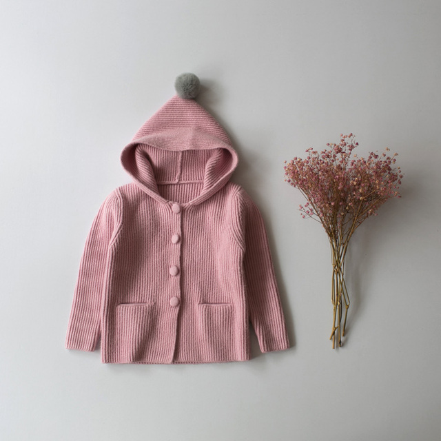 Selling 2017 spring and winter children sweater girls cardigan sweater coat baby child casual sweater pocket