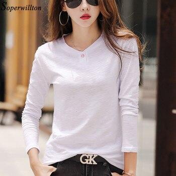 100% Cotton T Shirt Women Long Sleeve Tshirt Female 2020 Spring Autumn Ladies Tops Tee Shirt Femme Plus Size 3XL White Black G79 - White, M
