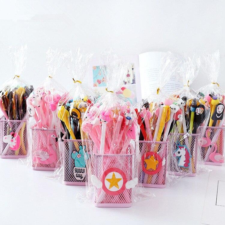 20 Pcs/set Cute Cartoon Black Ink Gel Pen With Refills Kawaii Neutral Pen School Office Supply Gift Stationery Papelaria Escolar
