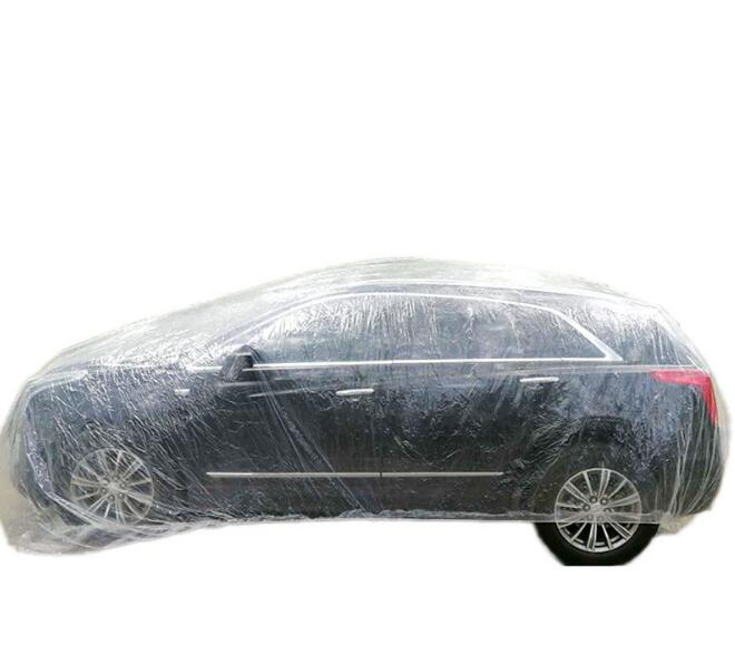 Disposable Car Cover Waterproof Transparent Plastic Dustproof Cover Rain Covers For BMW Toyota Honda Mazda Ford Audi(China)