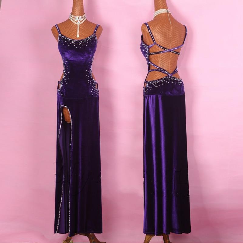 Фиолетовый Блестящий Алмаз Латинской платье для танцев Для женщин Бургундия Элегантный юбка Тюльпан дамы этап бальные конкурировать женск