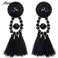 2017 New ZA Big Brand Crystal Long Tassel Drop Earrings Women Bijoux Red Gem Wedding Accessory Statement Dangle Earrings Jewelry
