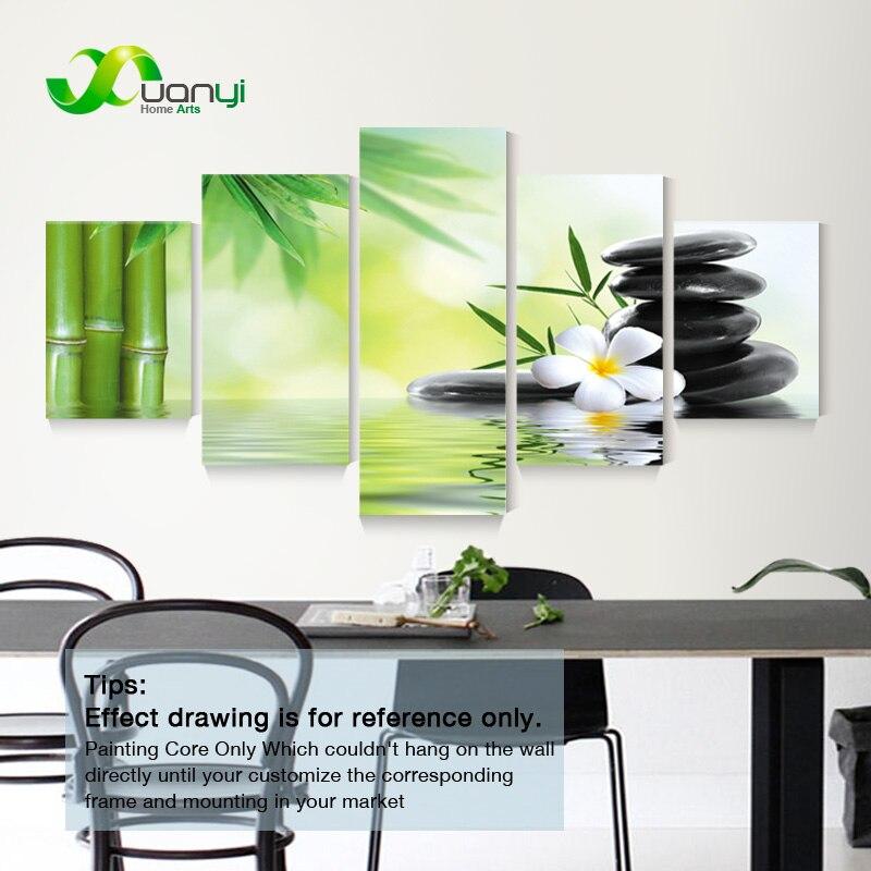 5 panneaux Abstrait Tableau Déco Zen Bambou Pierres Peinture Toile ...