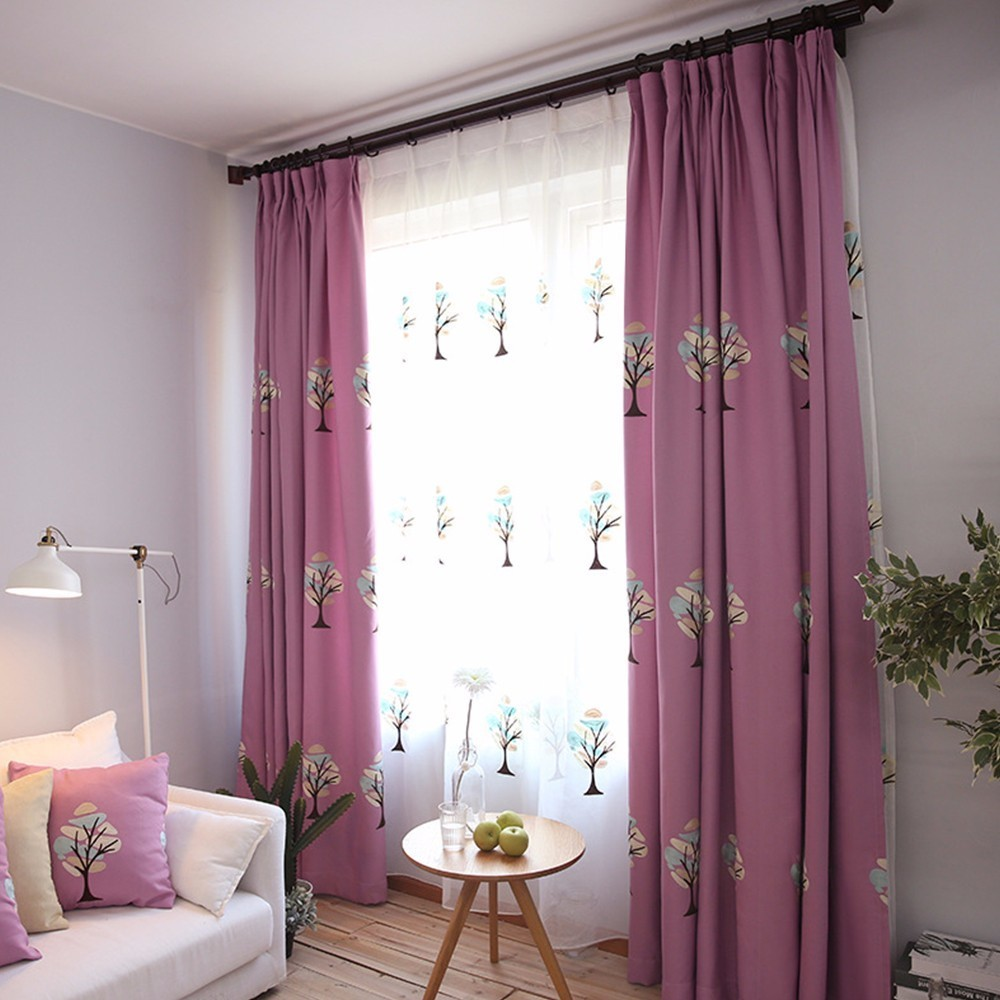 Cute Style Sapling Embroidered Velvet Curtains for Living Room Elegant Window Curtains for Bedroom Faux Linen Curtains Drapes