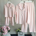 Family striped Pajamas Matching Clothes Mother Daughter Father Son Baby New Year Look Sets 100% Cotton sleep wear home 2pcs/set