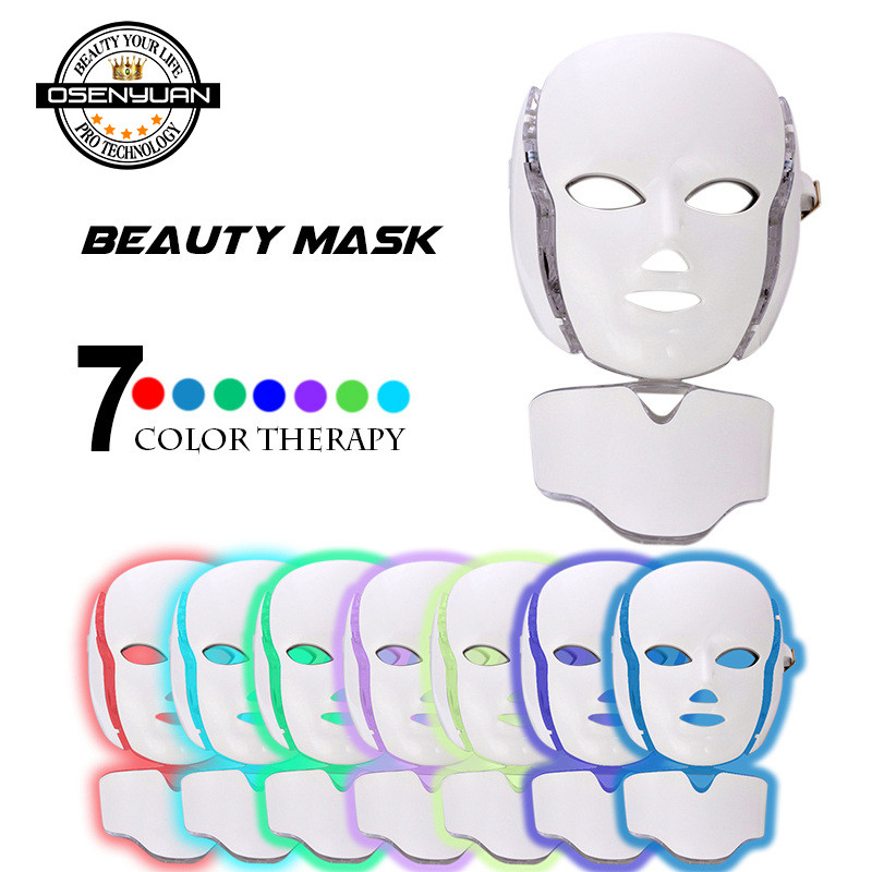 2019 newest PDT photon led facial mask 7 colors led light therapy skin rejuvenation wrinkle removal