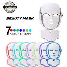2019 newest PDT photon led facial mask 7 colors led light therapy skin rejuvenation wrinkle removal beauty machine facial mask цены