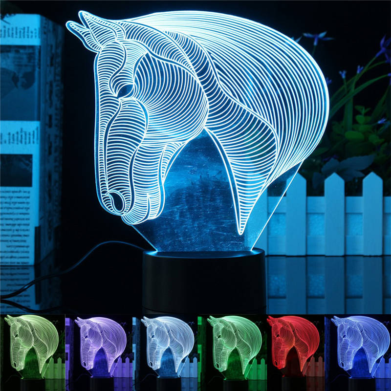 Mising 3D Horse Head Shape Touch Control LED Lamp 7 Colors Change Night Light Acrylic Plate ABS Base Lights for Home Decoration
