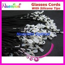 추천 100 pcs 고품질 흰색 실리콘 팁 검은 안경 선 글래스 안경 폴리 에스터 문자열 코드 끈 l709
