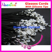 Aanbevolen 100 stks Met Hoge Kwaliteit Wit Siliconen Tips Zwart Bril Sunglass Eyewear Polyester String Cords Lanyard L709