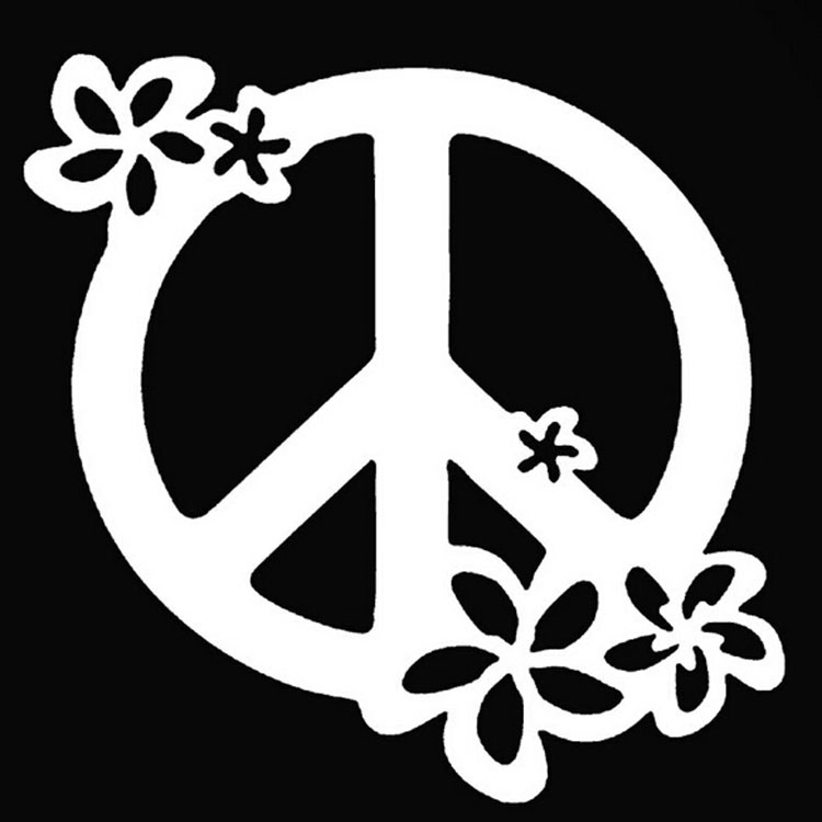 1313cm flower art graphics peace sign car sticker decal waterproof motorcycle stickers car styling black silver c2 0331 in car stickers from automobiles
