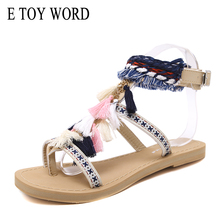 E TOY WORD 2019 new sandals women summer tassel buckle soft wear-resistant women's sandals Roman shoes flat Beach sandals soft beige metallic buckle flat sandals