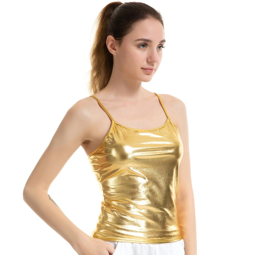 Girls Vest Top Strappy Tank Summer Camisole Shiny Metallic Crop Top Plain Cami