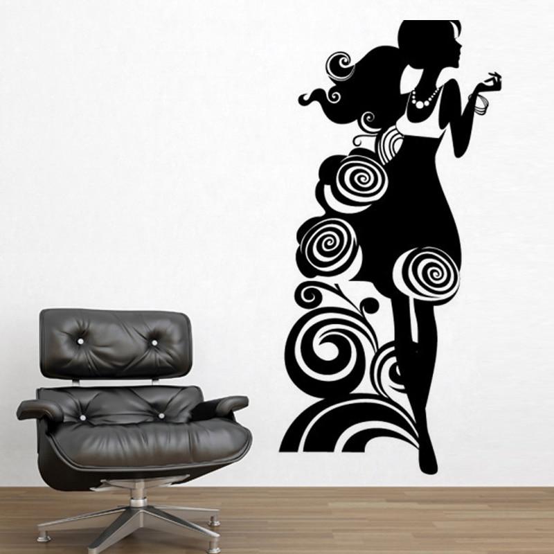 Fashionable women Vinyl Wall Stickers Home Decoration Living room Bedroom Wall Decals DIY Art Murals JG2699