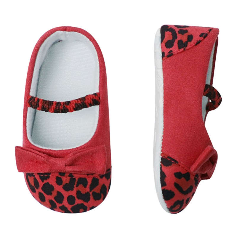 Baby Shoes First-Walkers Non-Slip Soft-Sole Newborn Leopard Girls Princess Bowknot 0-24M