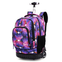 Middle school students trolley bags for boy travel backpack teens schoolbag girl luggage waterproof wheel computer bag suitcase