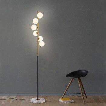 Post-Modern 6 Bola Kaca Lampu LED Lantai untuk Ruang Tamu Kamar Tidur Samping Tempat Tidur Serambi Lantai Seni Loft Dekorasi gratis Pengiriman