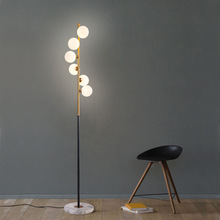 цены Post-modern 6 Glass Ball LED Floor Lamp For Living Room Bedroom Bedside Foyer Floor Light Art Loft Decoration Free Shipping