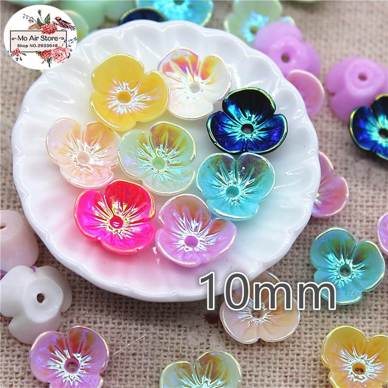 50pcs 10mm AB White/black/pink Mix Color Flower Resin Flatback Cabochon DIY Jewelry/phone Decoration DIY Craft