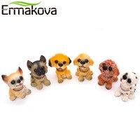 ERMAKOVA 6 Pcs/Set Resin Dog Bobbleheads Statue Puppy Nodding Doll Shaking Dog Bobble Nodder Bubble Head Desktop Car Decoration