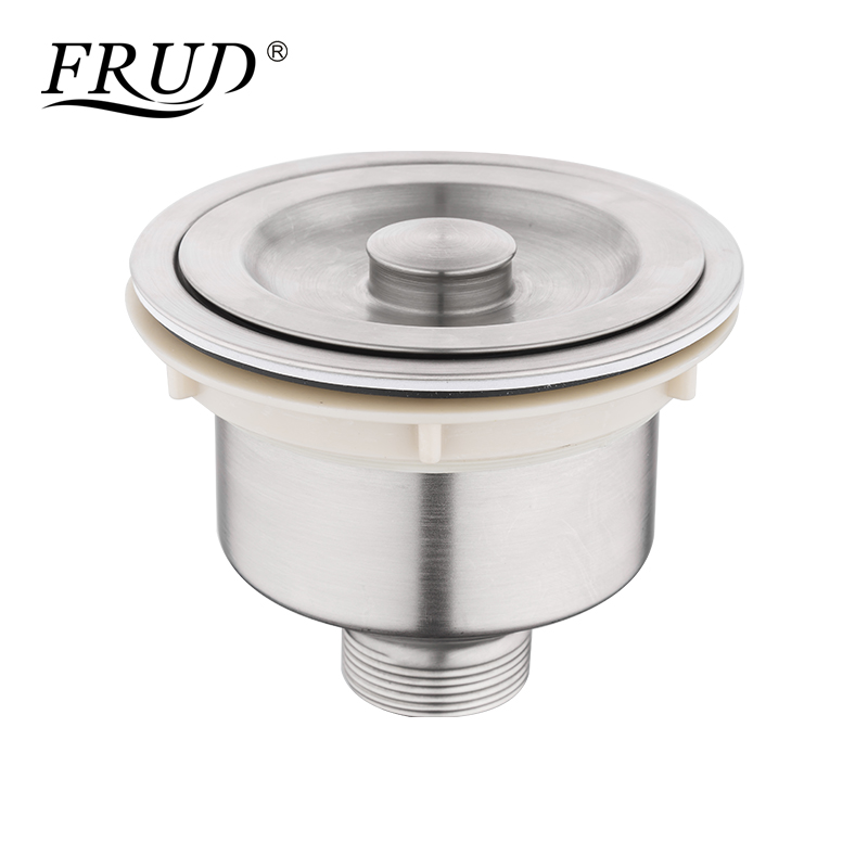 Frud New Antiblocking Kitchen Tool Stainless Steel Kitchen Sink Drain Assembly and Basket Waste Sink Strainer with Cover Y81044 kitchen drain basket