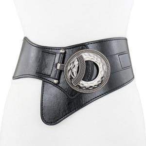 Image 4 - Lady Leather Waistband Womens Genuine Leather Belt Skirt Trim Fur Coat Down Jacket Belt Black Elastic Wide Waistband B 8403
