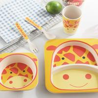 Cartoon Children Tableware Set Bamboo Fiber Innovative Cartoon Bowl Compartmental Plate Spoon Fork Cup Five Piece Gift Tableware