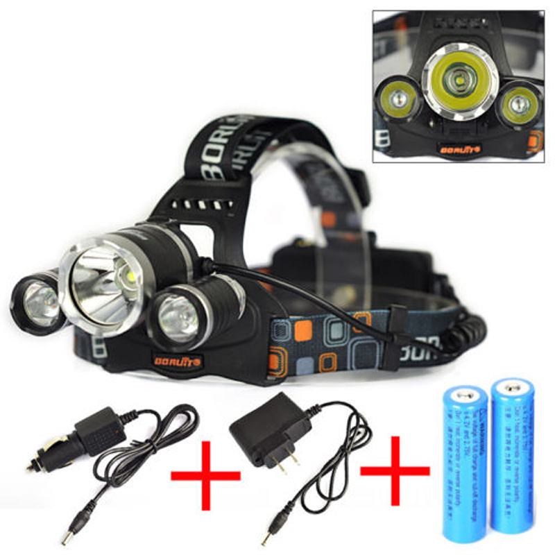 Boruit 6000LM 3x XML T6 LED Headlamp Headlight Head Torch+2x18650+AC/Car Charger Bicycle Cycling Light Bike Outdoors Headtorch bike bicycle xml t6 led headlamp headlight zoomable adjustable head light