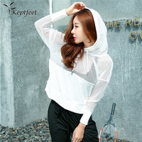 Fitness Breathable Sportswear Women Sport Suit Yoga Top Quick Dry Running Shirt Hooded Sports Shirt Sunscreen